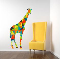 Nursery Giraffe Wall Decal, Colorful Geometric Pattern Giraffe Decal, Zoo Animal Decor, Kids Bedroom Decal, Safari Animal, New Baby Gift