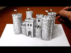 Drawing a Castle - 3D Art Optical Illusion - YouTube
