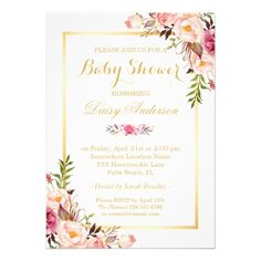 Classy Chic Floral Golden Frame Baby Shower Card