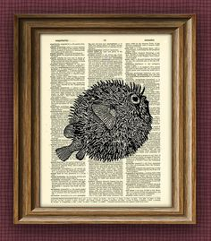 Fish Art Print PUFFER FISH illustration beautifully upcycled dictionary page book art print altered
