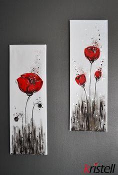Poppies I & II. Peinture de coquelicots. Red painting. Eveil de la beauté fragile de la nature.