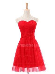 red chiffon pleating short bridal dress | Cheap mini length Sale