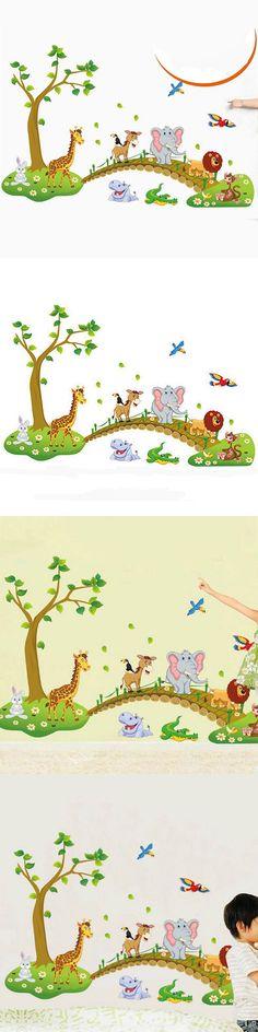 Cute Cartoon Animals Wall Sticker PVC Removable Decal Home Baby Kids Nursery Room Children Bedroom Decoration Mural Art DIY