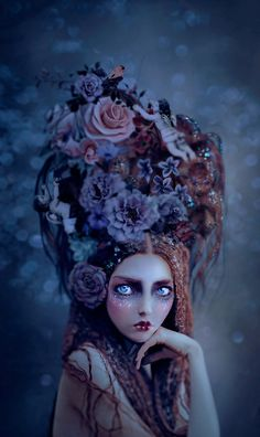 I love the illustration of the eyes in this surreal portrait by artist Natalie Shau Foto Fantasy, Fantasy Art, Fantasy Women, Dark Fantasy, Marie Antoinette, Arte Lowbrow, Pop Surrealism, Art Graphique, Mixed Media Artists