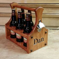 Beer Caddy made of Cherry and clear coated with a satin finish. #beercaddy #beer #cherrywood