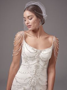 The vintage-style beaded shoulder detail is so beautiful! Dominique wedding dress by Sottero & Midgley #maggiesottero #sotteroandmidgley