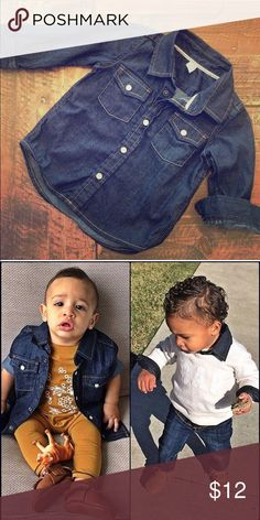 BabyGap Dark Denim Button Up shirt Excellent condition - Worn twice - perfect staple piece - as shown worn under a sweater or over a Romper GAP Shirts & Tops Button Down Shirts