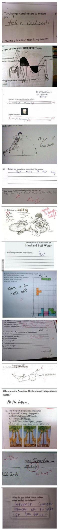 Some funny exam answers! {Tetris & the giraffes! Lol}