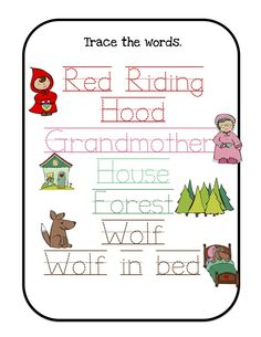 Printables for many units/themes I would use Little Red Riding Hood Printable