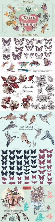 vector pack of floral objects. Watercolor Flowers