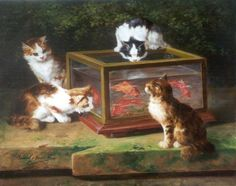 Alfred Arthur Brunel de Neuville (Francia, 1852-1941). Four Kittens around a Fish Tank.