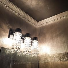 Ombré Powder Room with Modern Masters Metallic Paint on Wall Finish, Trim and Ceiling Metallic Wallpaper, Metallic Paint, Silver Paint, Powder Room Wallpaper, Painting Trim, Textured Painting, Wall Paint Colors, Modern Masters, Paint Effects