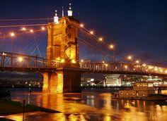 Roebling Suspension Bridge, Covington KY to Cincinnati Ohio.Love the Covington Waterfront Dotted With Great Shops Restaurants. Jamaica, Rock N Roll, Southwestern College, Covington Ky, New Years Eve Fireworks, Ohio Usa, City Restaurants, Ohio River, Suspension Bridge