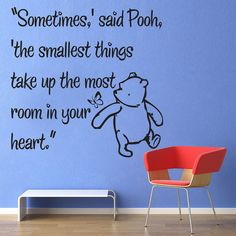Vinyl Wall Decal Sticker Art - Smallest Things - Medium - Winnie the Pooh wall mural