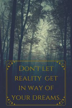 Don't let reality, get in way of your dreams.