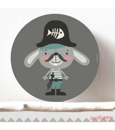 Cuadro infantil conejo pirata