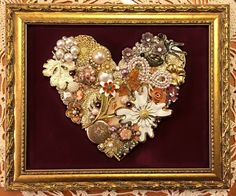 Handmade upcycled vintage jewelry heart framed artwork