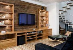 Decoracao-Casa-criativa-moderno-rustico-textura-madeira-rack-tv_