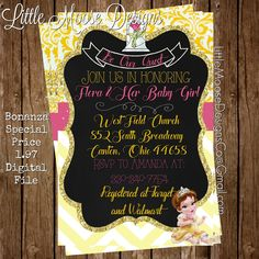 Beautiful Beauty And The Beast   Belle Baby Shower Invitation. Be Our Guest!