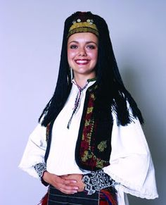 A Croatian woman in one of the many types of Bosnian Posavina costumes.