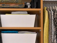 Storage Bins-less expensive than drawers Keep your closet clutter free with a couple of canvas storage bins. They are great for storing socks, scarves and out-of-season clothing. And the best part is they are easily accessible and just as easy to clean.