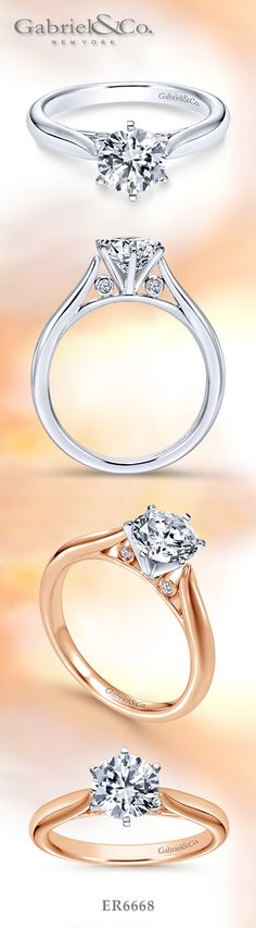 Gabriel & Co. - Voted #1 Most Preferred Bridal and Fashion Brand. A feminine and graceful 14K Solitaire White Gold and Yellow Gold Engagement Ring.