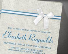 Blue White Rustic Burlap Bridal Shower Invitation