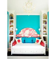Turquoise Bedroom: Turquoise is a tricky color--at one point I had at least 6 samples of different shades of blue-green searching for the perfect hue for my kitchen.  This room went bold but still looks classy--I love it