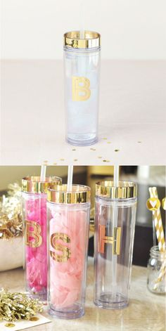 Take your favorite cool beverages to go in the most stylish of ways, with these personalized metallic foil tumblers. Made of acrylic and metallic foil, these are available in three patterns and foil c (Favorite Party Gift) Gifts For Wedding Party, Party Gifts, Wedding Favors, Our Wedding, Quirky Wedding, Wedding Ideas, Birthday Pictures, Silhouette Cameo Projects, Up Girl