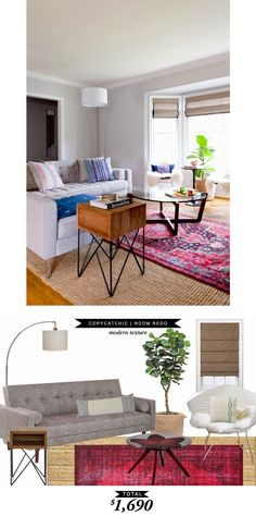 A modern and layered airy living room recreated by @lindseyboyer for $1690
