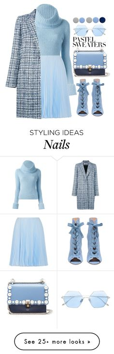 """Lady Blue"" by pollyphalatse on Polyvore featuring Ermanno Scervino, Prada, Lanvin, Fendi, Burberry, Frency & Mercury and pastelsweaters"