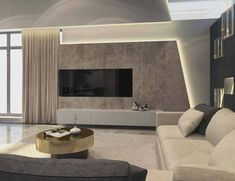This contemporary private villa interior is a project designed by Russian architect Shamsudin Kerimov and covers an area of 310 sqm. Photos by Shamsudin KerimovHouse in Moscow by Shamsudin Kerimov « HomeAdore Tv Lounge Design, Tv Wall Design, House Design, Decor Interior Design, Modern Interior, Deco Tv, Tv Unit Furniture Design, Living Room Tv Unit Designs, Muebles Living
