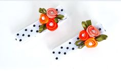 Boutique Flower Hair Clips for Girls Polka dot Coral Rosettes Pearls by Ana's…