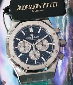 Audemars Piguet Watches, Audemars Piguet Royal Oak, Old Watches, Mechanical Watch, Chronograph, Stainless Steel, Blue, Accessories, Chill