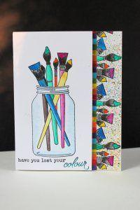 Friendship Jar and Fillers.  Water color paper, Derwent Inktense watercolor pencils, Pico Shimmer Embellisher, Masking Paper, Neenah 110lb cardstock.