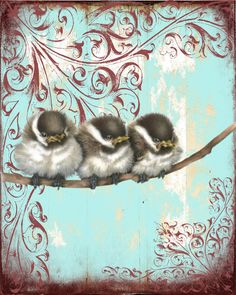 Art - birds and ornate scroll work on distressed background. Cute - great inspiration.
