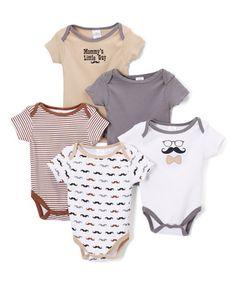 Look at this #zulilyfind! Gray & Tan 'Mommy's Little Guy' Bodysuit Set - Infant #zulilyfinds