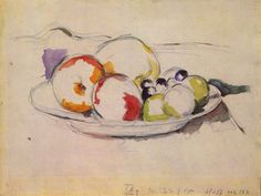 """huariqueje: """" Still Life with Fruit - Paul Cezanne, 1885-88 French,1839-1906 Watercolor on pencil, 23.8 x 31.8 cm, Museum of Fine Arts Budapest """""""