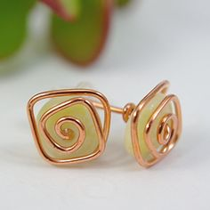 Copper Wire Wrapped Yellow Gemstone Earrings