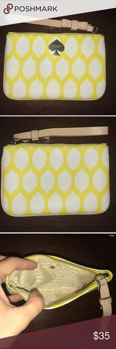 Kate spade lemon wristlet Kate spade lemon wristlet barley used, with little sign of use. It measures about 5x8 and fits my iPhone 7 and some credit cards or cash. You can squeeze in your keys or lipstick if you really want too, but that over time could break the zipper. kate spade Bags Clutches & Wristlets