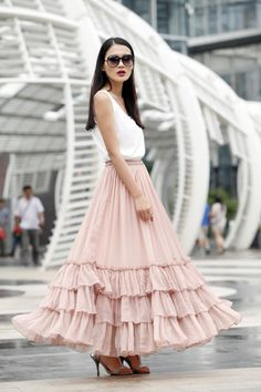 Fairy Falbala Silk Chiffon Maxi Skirt Strapless Dress Big Sweep Long Skirt in Nude Pink - NC463 on Etsy, $139.00