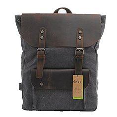 EYSEE® Neu Damen und Herren Vintage Canvas Leder Rucksack (schwarz)
