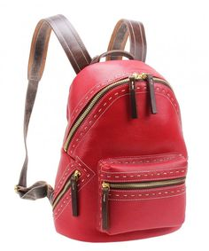 Women Leather Backpack Purse Casual Travel Shoulder School Bag Small M6118  (red) - C6187GSO2RW dcab4e7cac63c