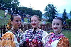 Folklore festival in Detva 2018 3 women in Slovak folk costumes from Detva region, Central Slovakia