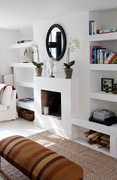 """The Simple Proof """"Room Inspiration"""" this week finds us redesigning our family room fireplace to give our space a little more character Tall Fireplace, Fireplace Bookshelves, Home Fireplace, Fireplace Design, Farmhouse Fireplace, Fireplace Kitchen, Victorian Fireplace, Fireplace Mirror, Decorating Bookshelves"""