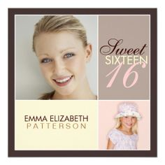 Modern Photo Square Sweet Sixteen Birthday Party Custom Invite