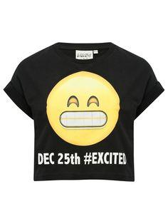 Excited emoji crop top