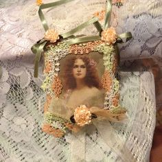 5 inch lavender scented sachet with image of by cindysvictorian