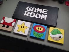 Nintendo Game Room custom designed and hand painted multi canvas art Super Mario themed. Created by LessThanThree Designs.  www.facebook.com/lessthanthreedesigns