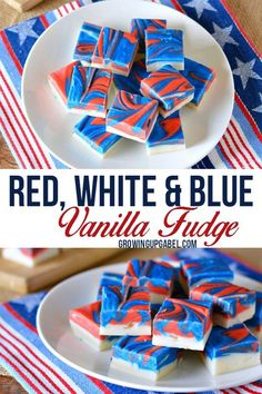 Looking for a kid friendly red white and blue dessert recipe for Fourth of July? Whip up this  fun and easy vanilla fudge! This easy fudge recipe (made with cream cheese) is then dyed and the swirled to create a festive look perfect for summer, Memorial Day, and Labor Day, too.